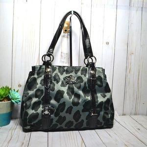 Rare Coach gray mia Ocelot leopard tote 15778 Bag